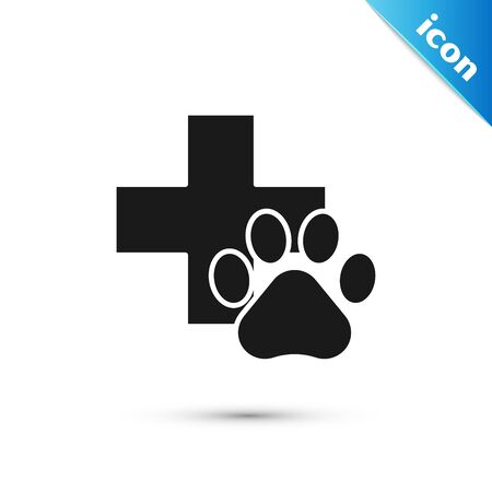 Black Veterinary clinic symbol icon isolated on white background. Cross hospital sign. A stylized paw print dog or cat. Pet First Aid sign. Vector Illustration