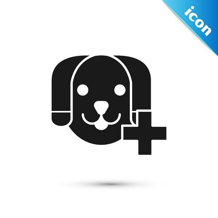 Black Veterinary clinic symbol icon isolated on white background. Cross with dog veterinary care. Pet First Aid sign. Vector Illustration