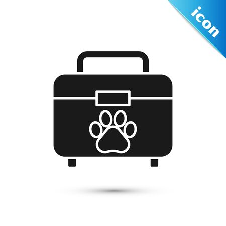 Black Pet first aid kit icon isolated on white background. Dog or cat paw print. Clinic box. Vector Illustration