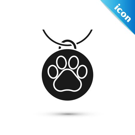 Black Collar with name tag icon isolated on white background. Supplies for domestic animal. Dog or cat paw print. Cat and dog care. Pet chains. Vector Illustration Illustration