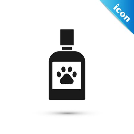 Black Dog medicine bottle icon isolated on white background. Container with pills. Prescription medicine for animal. Vector Illustration