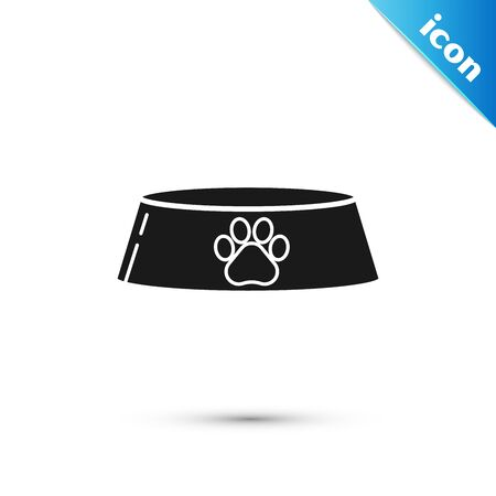 Black Pet food bowl for cat or dog icon isolated on white background. Dog or cat paw print. Vector Illustration