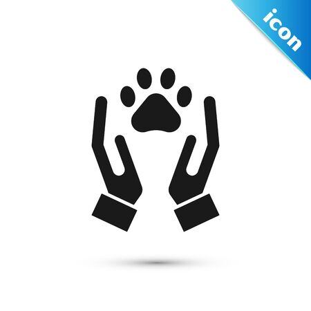 Black Hands with animals footprint icon isolated on white background. Pet paw in heart. Love to the animals. Vector Illustration