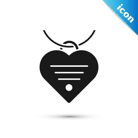 Black Collar with name tag and heart icon isolated on white background. Simple supplies for domestic animal. Cat and dog care. Pet chains. Vector Illustration