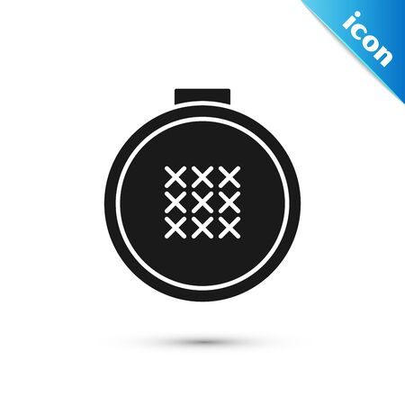 Black Round adjustable embroidery hoop icon isolated on white background. Thread and needle for embroidery. Vector Illustration Ilustração