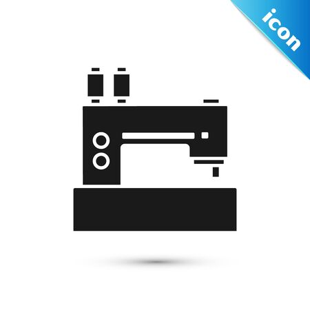 Black Sewing machine icon isolated on white background. Vector Illustration