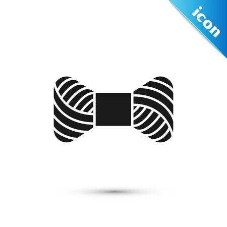 Black Sewing thread on spool icon isolated on white background. Yarn spool. Thread bobbin. Vector Illustration Ilustração
