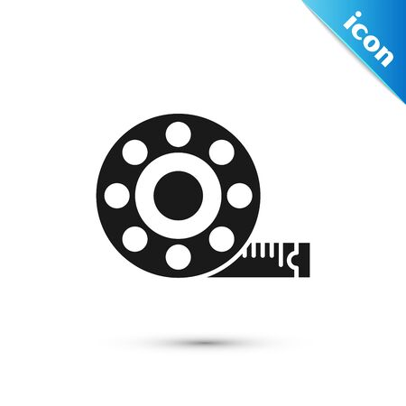 Black Tape measure icon isolated on white background. Measuring tape. Vector Illustration