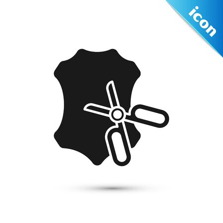 Black Scissors and leather icon isolated on white background. Tailor symbol. Cutting tool sign. Vector Illustration