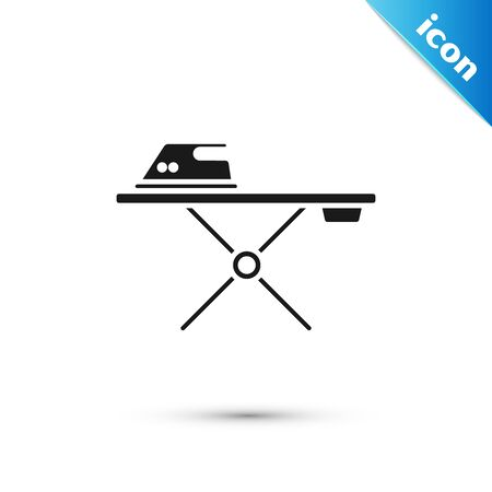 Black Electric iron and ironing board icon isolated on white background. Steam iron. Vector Illustration