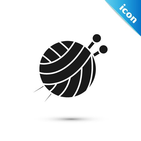 Black Yarn ball with knitting needles icon isolated on white background. Label for hand made, knitting or tailor shop. Vector Illustration