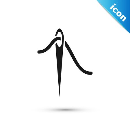Black Needle for sewing with thread icon isolated on white background. Tailor symbol. Textile sew up craft sign. Embroidery tool. Vector Illustration Ilustração