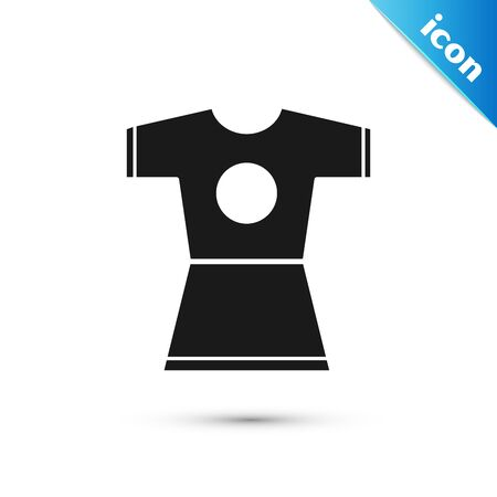 Black Woman dress icon isolated on white background. Clothes sign. Vector Illustration