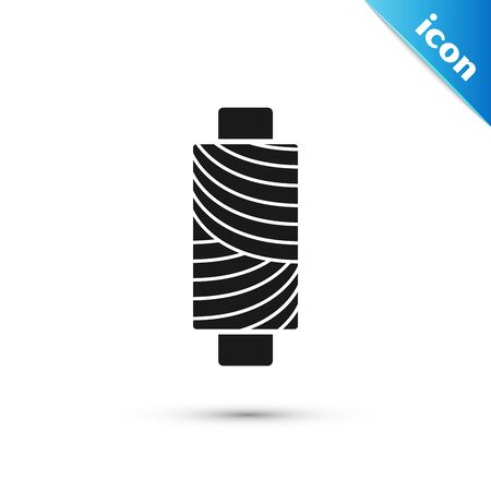 Black Sewing thread on spool icon isolated on white background. Yarn spool. Thread bobbin. Vector Illustration Illustration
