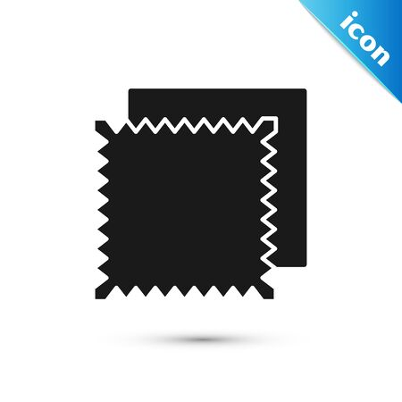 Black Textile fabric roll icon isolated on white background. Roll, mat, rug, cloth, carpet or paper roll icon. Vector Illustration