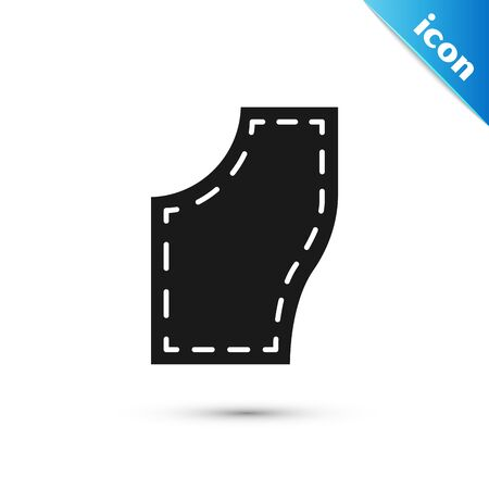 Black Sewing Pattern icon isolated on white background. Markings for sewing. Vector Illustration 矢量图像