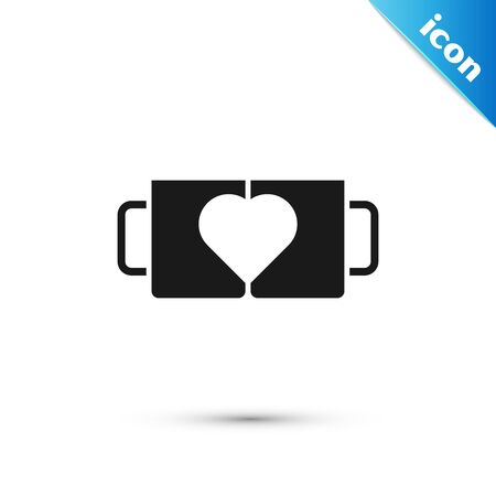 Black Two coffee cup and heart icon isolated on white background. Couple coffee for lovers on Valentines Day. Vector Illustration
