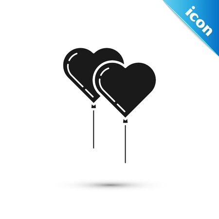 Black Balloons in form of heart with ribbon icon isolated on white background. Vector Illustration