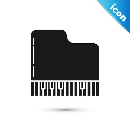 Black Grand piano icon isolated on white background. Musical instrument. Vector Illustration