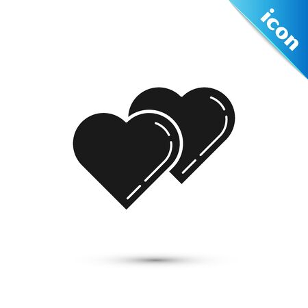 Black Two Linked Hearts icon isolated on white background. Romantic symbol linked, join, passion and wedding. Valentine day symbol. Vector Illustration 일러스트