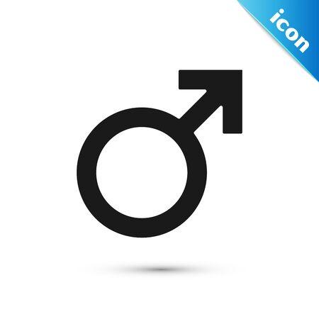 Black Male gender symbol icon isolated on white background. Vector Illustration
