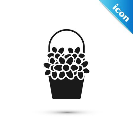 Black Flowers in a basket icon isolated on white background. Vector Illustration
