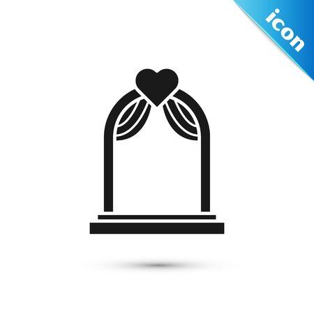 Black Wedding arch icon isolated on white background. Wedding decoration. Vector Illustration