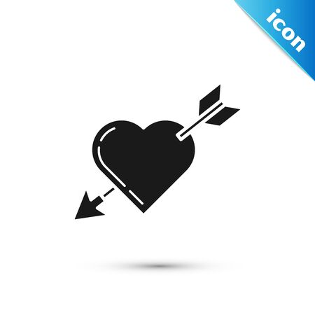 Black Amour symbol with heart and arrow icon isolated on white background. Love sign. Valentines symbol. Vector Illustration