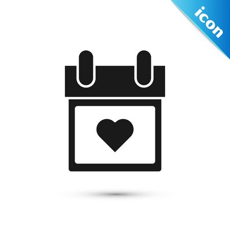 Black Calendar with heart icon isolated on white background. Valentines day. Love symbol. February 14. Vector Illustration Ilustração