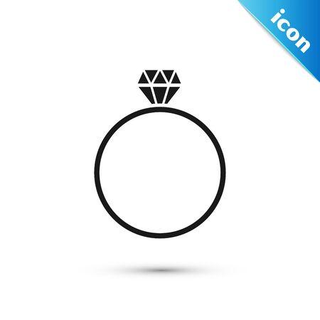 Black Diamond engagement ring icon isolated on white background. Vector Illustration