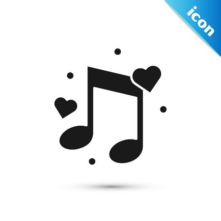 Black Music note, tone with hearts icon isolated on white background. Vector Illustration Ilustração