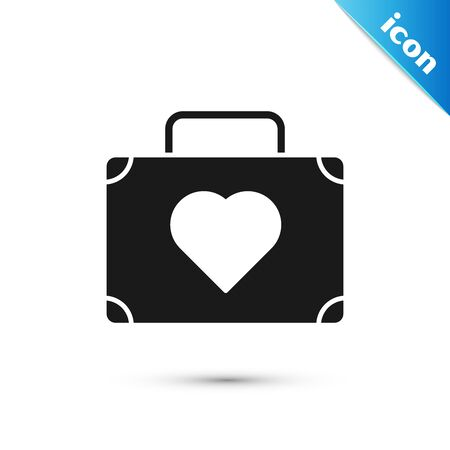 Black Suitcase for travel with heart icon isolated on white background. Honeymoon symbol. Traveling baggage sign. Travel luggage icon. Vector Illustration