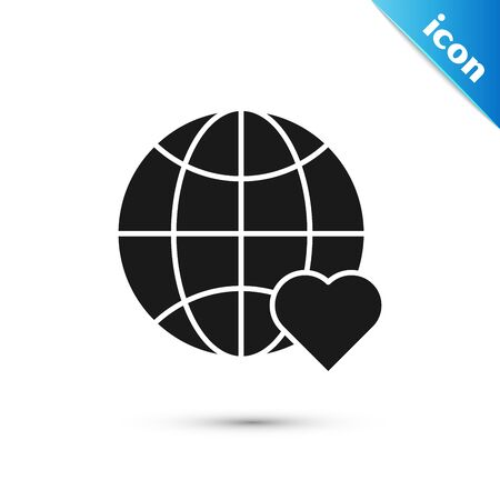 Black The heart world - love icon isolated on white background. Vector Illustration