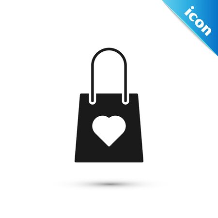 Black Shopping bag with heart icon isolated on white background. Shopping bag shop love like heart icon. Valentines day symbol. Vector Illustration
