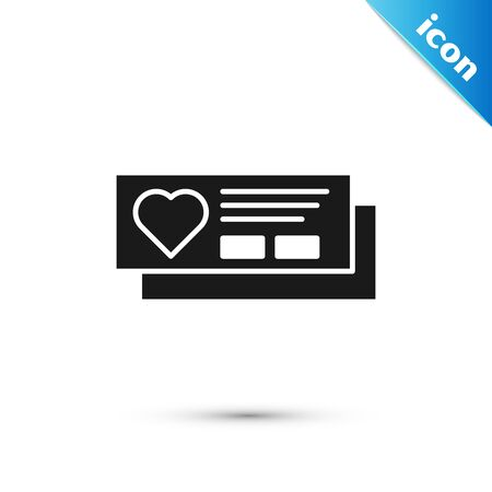 Black Ticket with heart icon isolated on white background. Boarding pass with heart. Vector Illustration Иллюстрация