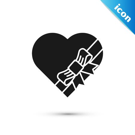 Black Candy in heart shaped box and bow icon isolated on white background. Valentines Day. Vector Illustration