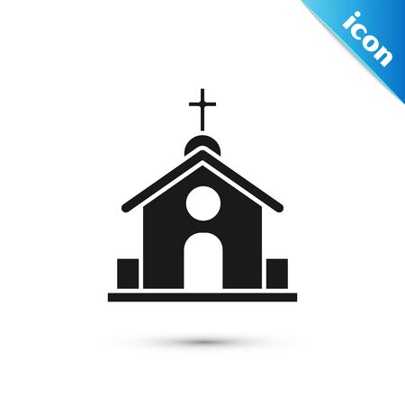 Black Church building icon isolated on white background. Christian Church. Religion of church. Vector Illustration