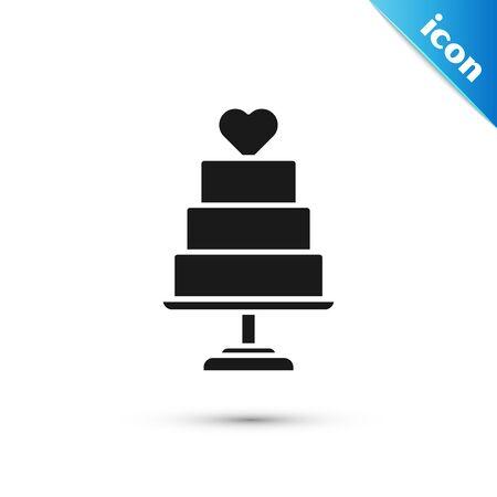 Black Wedding cake with heart icon isolated on white background. Vector Illustration