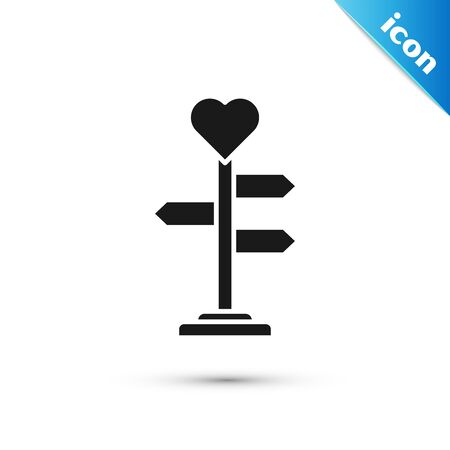 Black Road traffic sign. Signpost with heart icon isolated on white background. Isolated street information sign. Direction sign. Vector Illustration Ilustracja