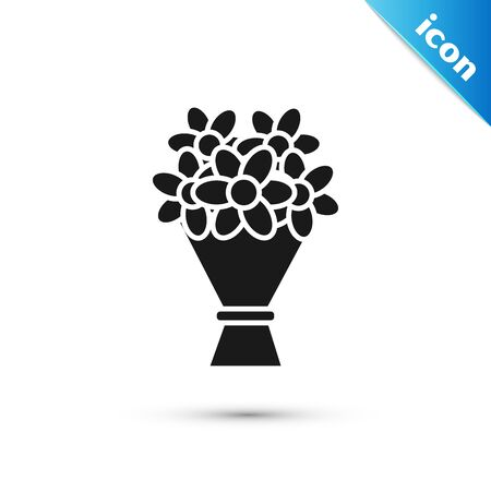 Black Bouquet of flowers icon isolated on white background. Vector Illustration
