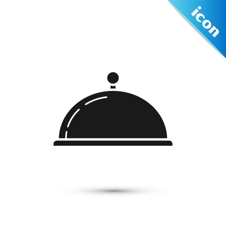 Black Covered with a tray of food icon isolated on white background. Tray and lid sign. Restaurant cloche with lid. kitchenware symbol. Vector Illustration  イラスト・ベクター素材
