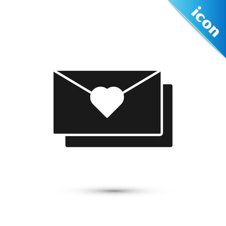 Black Envelope with Valentine heart icon isolated on white background. Message love. Letter love and romance. Vector Illustration Ilustração