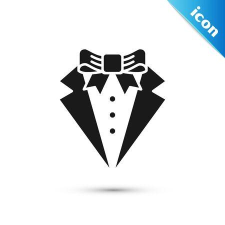 Icono de traje negro aislado sobre fondo blanco. Smoking. Trajes de novio con corbata. Ilustración vectorial