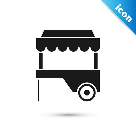 Black Fast street food cart with awning icon isolated on white background. Urban kiosk. Vector Illustration Stock Vector - 128599113
