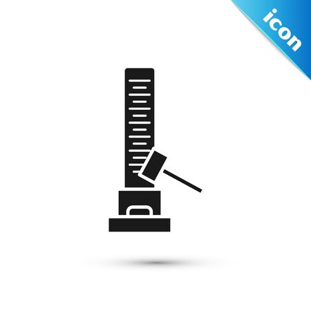 Black High striker attraction with big hammer icon isolated on white background. Attraction for measuring strength. Amusement park. Vector Illustration Illustration