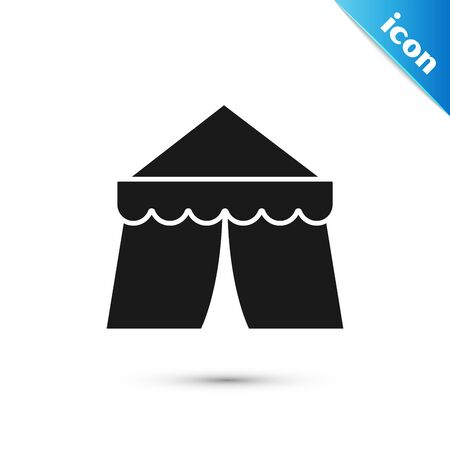 Black Circus tent icon isolated on white background. Carnival camping tent. Amusement park. Vector Illustration