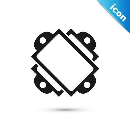 Black Ticket icon isolated on white background. Amusement park. Vector Illustration