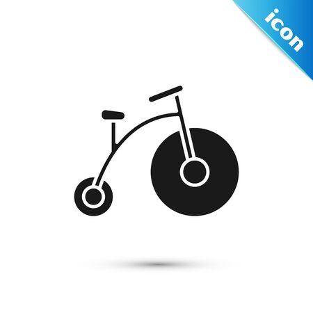 Black Vintage bicycle with one big wheel and one small icon isolated on white background. Bike public transportation sign. Vector Illustration