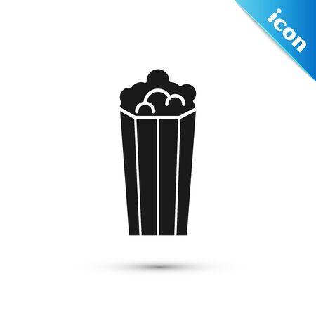 Black Popcorn in cardboard box icon isolated on white background. Popcorn bucket box. Vector Illustration Stock Illustratie