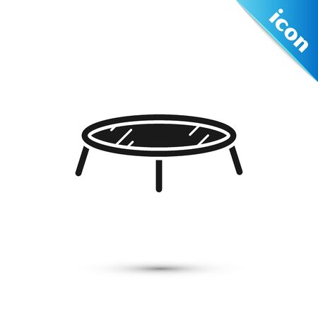 Black Jumping trampoline icon isolated on white background. Vector Illustration